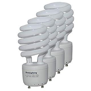 SleekLighting - GU24 23Watt 2700K 1600lm 2 Prong Light Bulbs- UL approved-120v 60Hz - Mini Twist Lock Spiral -Self Ballasted CFL Fluorescent Bulbs- 1600lm Warm White 4 Pack (100 Watt Equ)