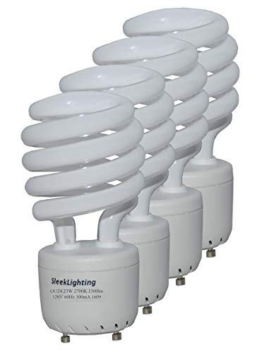 SleekLighting 23Watt T2 Spiral CFL Light Bulb 2700K 1300lm GU24 Base - 4pack