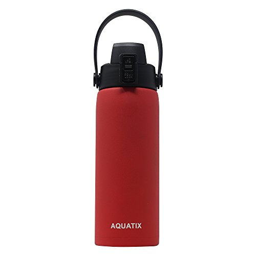 - New Aquatix (Red, 21 Ounce) Pure Stainless Steel Double Wall Vacuum Insulated Sports Water Bottle Convenient Flip Top Cap with Removable Strap Handle - Keeps Drinks Cold 24 hr/Hot 6 hr