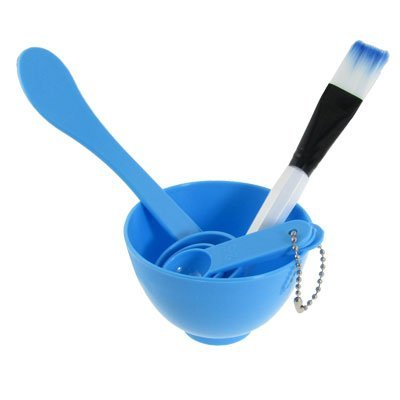 Large Product Image of Rosallini Packed 4 In 1 Facial DIY Mask Bowl Brush Spoon Tools Set Blue