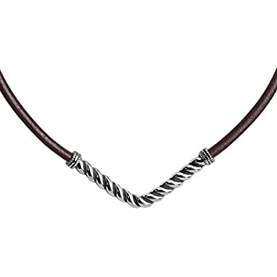 American West Boho Sterling Silver & Brown Leather Chevron Necklace