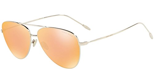 Giorgio Armani AR6049 - 30137J Sunglasses Pale Gold w/ Mirrored Orange Lens 58mm