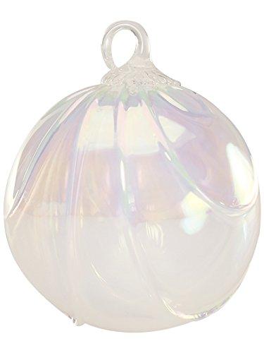 Red Co. Iridescent Glass Eye Studio Hand Blown Ball Ornament, Snow Drape