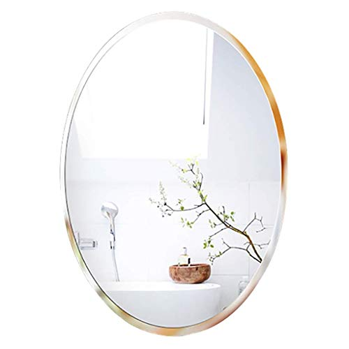 SDK Bathroom Frameless Creased Wall Mounted Vanity Oval Vanity Mirror For Bathroom Washroom Shed (Size : 50CMx70CM)