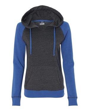 MV Sport W17127 Women's Harper Raglan Hooded Pullover Sweatshirt Hyper Blue/ Charcoal 2XL (Ladies Raglan Hoodie)
