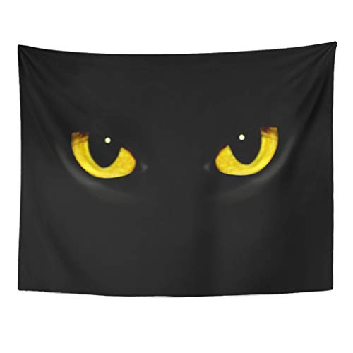 Tarolo Decor Wall Tapestry Yellow Panther Cat Eyes in Dark Night Green Black Animal Halloween Glow 60 x 50 Inches Wall Hanging Picnic for Bedroom Living Room -