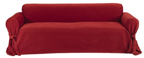 Amazon.com: Classic Slipcovers Brushed Twill Sofa Slipcover, Red ...