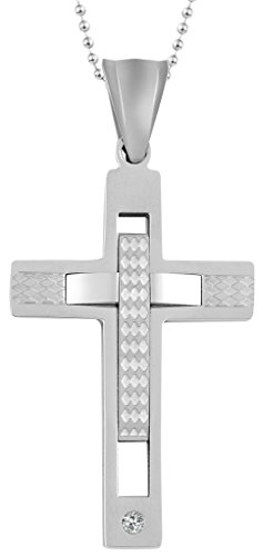 Unisex CZ Stone Layered Cross 2.33.6CM Stainless Steel Pendant Necklace Silvery Aooaz Jewelry (Adult Minnie Mouse Costume Diy)