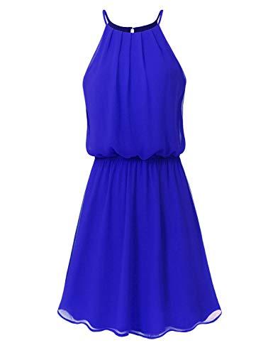 JSCEND Women's Sleeveless Double Layered Pleated Neck Cami Chiffon Mini Dress (S~3XL) A-Royal Blue 1XL