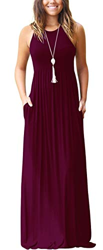 GRECERELLE Women's Sleeveless Casual Loose Pockets Maxi Party Long Dresses Wine Red-L Breathable 3 Season Jacket