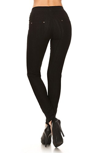 Leggings Depot Premium Quality Jeggings Regular and Plus Soft Cotton Blend Stretch Jean Leggings Pants w/Pockets (One Size (Size 0-12), Black) by Leggings Depot (Image #2)