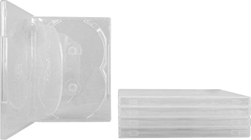 (5) 5-Disc Capacity Super Clear 14MM DVD Empty Replacement Cases with Wrap Around Sleeve #DV5R14CL (Dvd Replacement Sleeves)