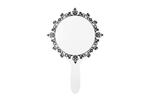 XIAOSHIGUANGGAO Vintage Style Princess Pattern Portable Portable Mirror (White, Large) (Vintage Style Mirror)