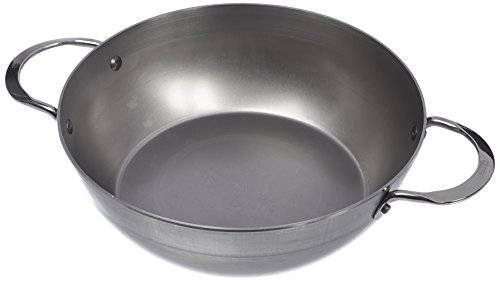 MINERAL B Round Country Chef Carbon Steel Fry Pan 12.5-Inch with 2 handles (De Buyer Mineral B Country Fry Pan)
