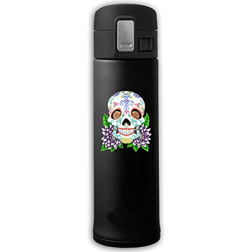 Stainless Steel Mug Sugar Skull Bouncing Cover Insulation Vacuum Cup Bottle Thermos Mug Black