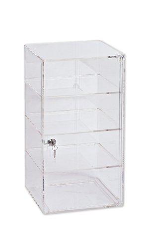 (New 4-Shelf Acrylic Tower Clear Display with Lock and Key 9¾â€W x 9¾â€D x 18½