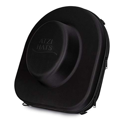Hat Box Travel Fedora Case Universal Size Hat Carrier for Most Hats Carry-On Hat Bag Mens Travelling Hat Boxes for Men Black