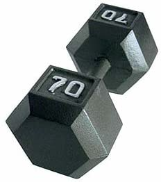 CAP Barbell 70lb Solid Hex Dumbbell (Single)