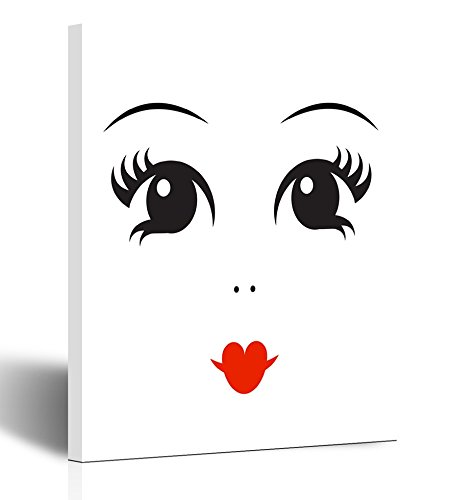 Emvency Painting Wall Art Canvas Print Square 12x16 Inches Doll Face on White Simple Concept Black Eyes and Red Lips Flat Objects Decoration Wooden (Masterpiece Doll Eyes)