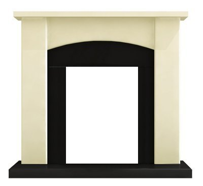 Adam Holden Fireplace in Cream and Black, 39 Inch by Adam