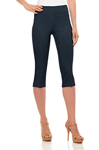 Velucci Womens Classic Fit Capri Pants - Comfortable Pull On Style with Detailed Design, Indigo-M - Capri Dry