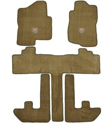 Cadillac Escalade ESV 2nd Row Captain Seats Prairie Tan Carpet Floor Mats with Silver Crest Logo-(2007 2008 2009 2010 07 08 09 10)
