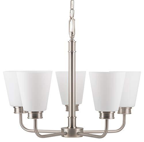 Annata 5 Light Chandelier – Brushed Nickel w/White Shades – Linea di Liara LL-CH20-1SN Review