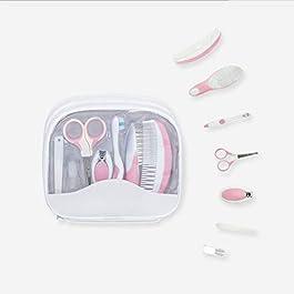 MYR 7 Pcs/Set Baby Grooming Kit Newborn Nursery Baby Health Care Set Infant Manicure Care Set Including Nail Clipper File Scissor Tweezer Hair Brush Comb,Pink