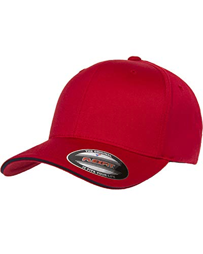 Yupoong Flexfit Wooly Cap with Sandwich Bill, Red/Navy, S/M
