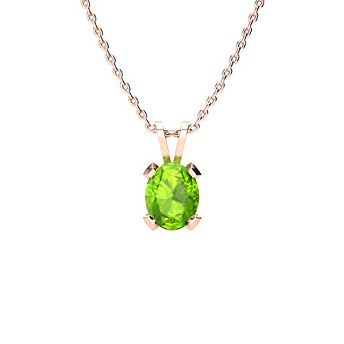 (1 Carat Oval Shape Peridot Necklace In Rose Gold Over Sterling Silver, 18 Inches)