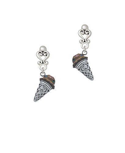 3-D Resin Chocolate Ice Cream Cone with Crystals - Filigree Heart Earrings ()