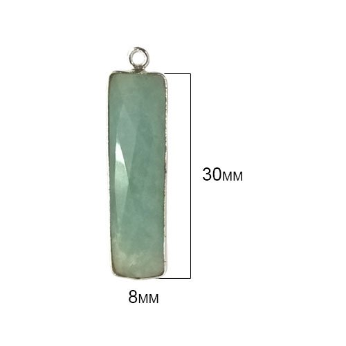 2 Pcs Amazonite Rectangle Beads 8X30mm silver by BESTINBEADS, Amazonite Hydro Quartz Rectangle Pendant Bezel Gemstone Connectors over 925 sterling silver bezel jewelry making supplies