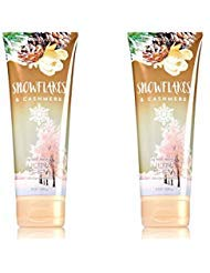 Set of 2 Bath and Body Works Snowflakes and Cashmere 8 Ounce Body Creams