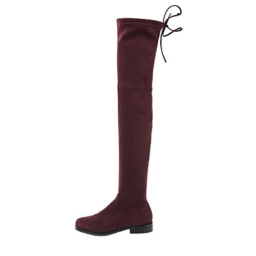 (Dormery Women Boots Stretch Faux Suede Over The Knee Boots Flat Thigh High Boots Ladies Long Autumn Winter Shoes Gray Wine Red 11)