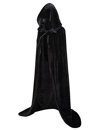 Colorful House Unisex Full Length Velvet Hooded Cape Halloween Christmas Cloak (150 cm (59