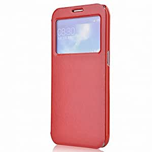 Buy Minimalist Solid Color PU Leather Full Body Case for Samsung I9200(Vouni-18) , Red