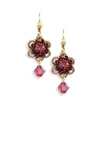 Clara Beau Small Multi-Red Swarovski Glass Crystal Cluster Goldtone Earrings EAM140]()