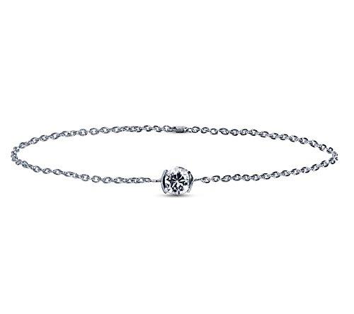 Or Blanc 9 ct Bracelet Diamant en forme de rond, 0.25 Ct Diamant, GH-SI, 1.6 grammes.