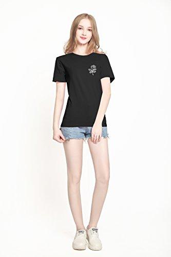 Di Tees Donnetop Pinjia Stampa Donna Grafico Divertente Carino Lettere Tshirts Black Rose HfqpZawR