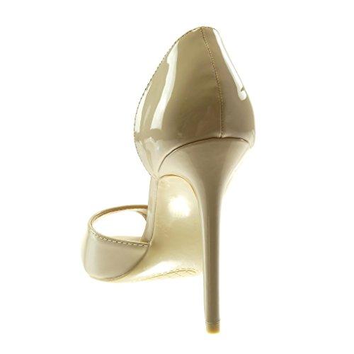 Con toe Alto Slip Tacco 11 Stiletto Verniciato Peep Angkorly Cm Decollete Donna Scarpe Beige Moda on Aw87nR