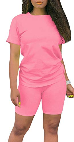 Two Piece Outfits for Women - Casual Short Sleeve Sweatshirt and Skinny Long Pants Tracksuit Set