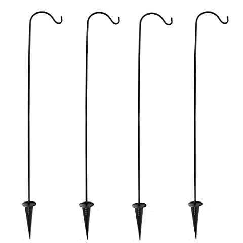 Home-X Set of 4 In-Ground Shepherds Hook. Adjustable Height, Easy Assembly Pole Set - Pole Hangers