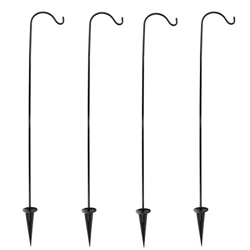 Home-X Set of 4 In-Ground Shepherds Hook. Adjustable Height, Easy Assembly Pole Set