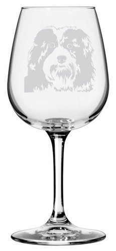 Havanese Dog Themed Etched All Purpose 12.75oz Libbey Wine Glass