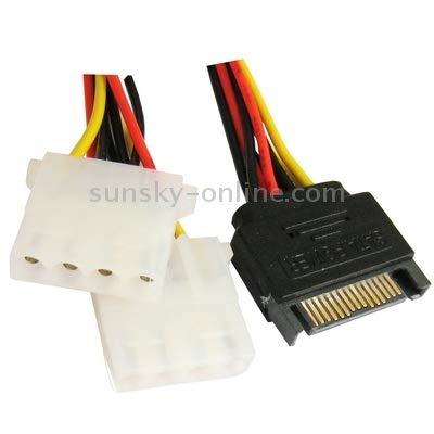 Length 15.2cm HUIFANGBU 15 Pin to 2 x 4 Pin SATA Power Molex Power Y-Cable