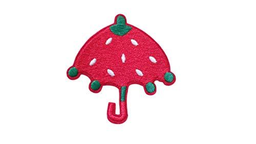 Strawberry Umbrella Iron On Patch Embroideed Applique Fruit Food Motif Children Scrapbook Cartoon Decal 2.75 x 2.75 inches (7 x 7 cm) (Strawberry Shortcake Applique)