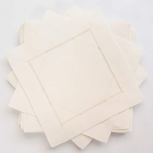 (Ivory linen hem stitch cocktail napkins -A dozen 6