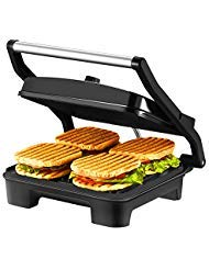 IKICH Temperature Control Sandwich Maker, 4 Slice Panini Press, Nonstick Panini Grill with 3 Year Warranty, Extra Large Plate and Removable Drip Tray, Black, Stainless Steel