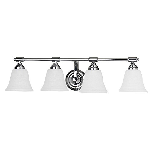 (Y Decor L5924CH Modern, Transitional, Traditional 4 Light Bathroom Vanity Fixture 27.5 inch Chrome with White Glass By , Chrome, Silver )
