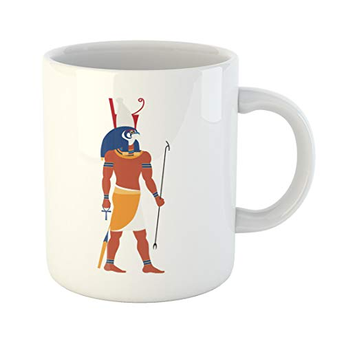 Emvency Funny Coffee Mug Flat Horus Ancient God of Egypt with Head Falcon and Human Body Sky Sun and Royalty 11 Oz Ceramic Coffee Mug Tea Cup Best Gift Or Souvenir ()